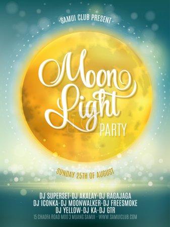 Illustration pour Pleine lune Beach Party Flyer. Conception vectorielle SPE 10 - image libre de droit