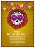 Day Of The Dead Skull Vector poster background Dia de los muertos