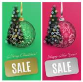 Vector Christmas card set sale background with ball stripe blurred christmas tree Vector EPS10