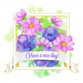 Card with flower in Frame with Have A Nice Day on ribbon. vector Illustration