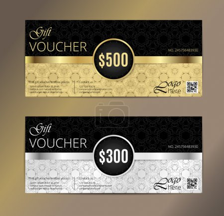 Illustration for Voucher, Gift certificate, Coupon template. Floral, scroll pattern. Background design for invitation, ticket, cheque. Black, gold vector - Royalty Free Image