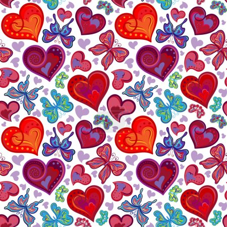 Seamless valentine pattern with colorful vintage r...