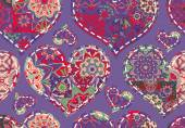 Seamless Valentines Day pattern with pastel patchwork hearts on violet background
