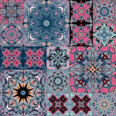Set of seamless patchwork patterns from colorful Moroccan Portuguese  tiles Azulejo ornaments Can be used for wallpaper pattern fills web page backgroundsurface textures