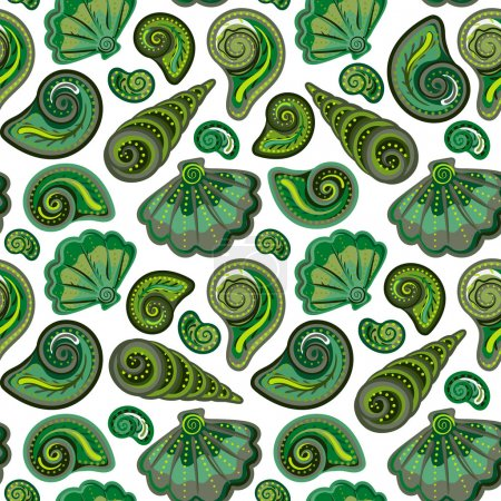 Seamless pattern with shells. Summer vector colorful background. Hand draw colorful sea shells backdrop.