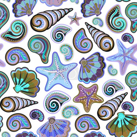 Graphic pattern with seashells, sea stars. Hand drawing. Seamless for fabric design, gift wrapping paper, printing.