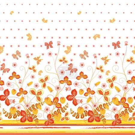 Seamless spring white floral pattern with orange strawberries and flowers and yellow butterflies