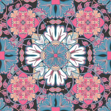 Vector bright pattern. East ornament with colorful blue pink white details on the turquoise background. Template for any surface. Elegant backdrop with oriental ornaments of mandalas.
