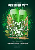 St Patrick's Day poster Beer party green background with calligraphy sign and two green beer glasses in frame with ears of wheat and hop Vector illustration