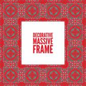 Decorative colorful square frame with lace ornament Oriental style Card template with place for logo and text Vintage vector  red on black
