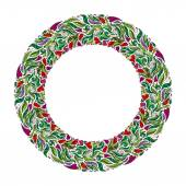 Floral wreath spring hand drawn frame Nature inspired garland with red flowers Vector design for cards and wedding invitations