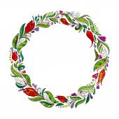 Detailed contour wreath with herbs tulips and wild leaves isolated on white Round frame for your design greeting cards announcements posters