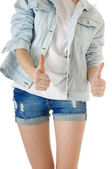 Front view of female body and  in  blue jeans shorts