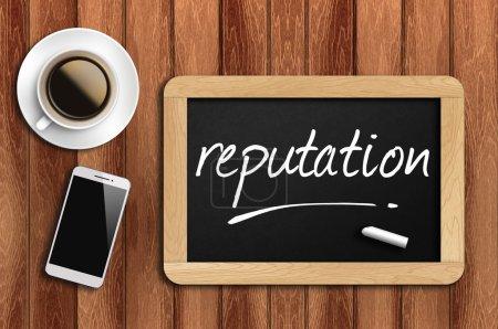 Photo pour Café, téléphone et tableau avec mot de réputation . - image libre de droit