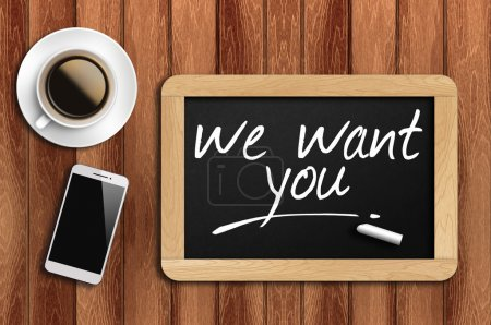 café, téléphone et tableau noir avec nous voulez vous Mots