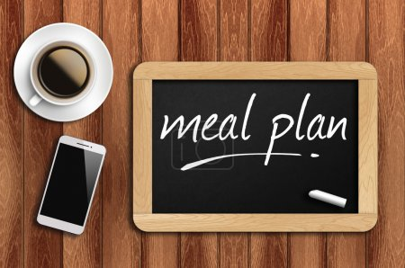 Photo for The coffee, phone  and chalkboard with word meal pla - Royalty Free Image