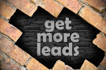 Hole in the brick wall with word get more leads