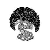 Graphics bonsai tree. curve trunk, big crown