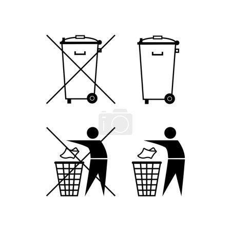 Illustration pour Une poubelle. Le recyclage des déchets. Ne jette pas de déchets. Déchets municipaux. Silhouette de poubelle. Ne pas jeter - image libre de droit