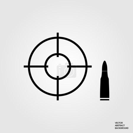 Illustration pour Vue optique. Titulaire et cible. Une balle. galerie de tir. Champ de tir. Illustration vectorielle - image libre de droit