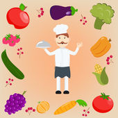 Cook holding dish on a plate and set of fruits and vegetables