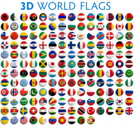 Photo pour Country flags of the world - 3D realistic. - image libre de droit