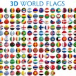 Country flags of the world - 3D realistic....