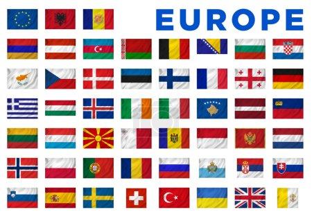 Photo pour Drapeaux européens de tous les pays européens. Chemin de coupe inclus . - image libre de droit