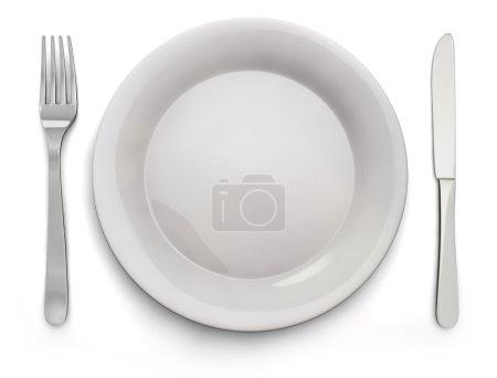 Food Plate, Knife, Fork