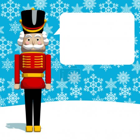 Christmas greeting card. The Nutcracker soldier as...