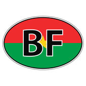Sticker on car flag Burkina Faso the inscription BF vector for print or website design for language buttons