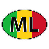 Sticker on car flag republic  mali with the inscription MLvector for print or website design for language buttons