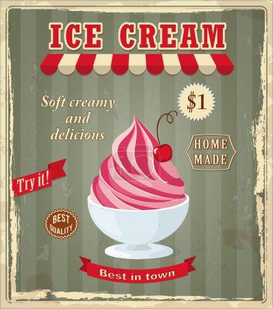 Vintage banner with cherry ice cream