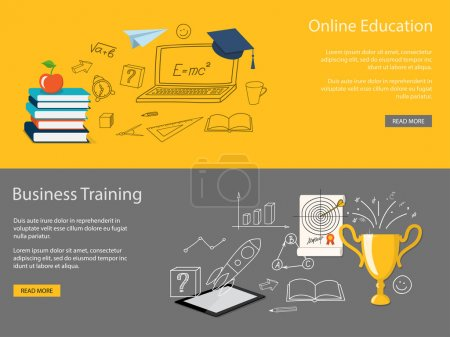 Illustration for Flat design modern vector illustration set of concept of school, university, business training, online education, study with books, tablet, winner cup - eps 10 - Royalty Free Image