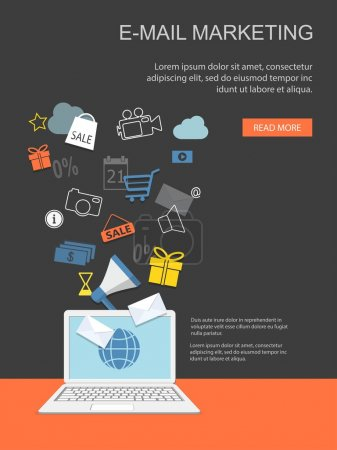 Illustration pour Plat conception illustration vectorielle moderne des affaires, marketing, e-mail marketing, achats en ligne, gestion avec ordinateur portable et éléments - eps10 - image libre de droit