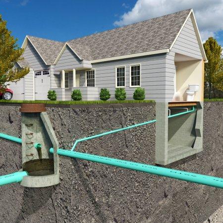 Photo pour Une illustration de la section-vue schématique d'un système d'égout sanitaire contemporain représentant une connexion résidentielle vers une structure sanitaire publique. - image libre de droit