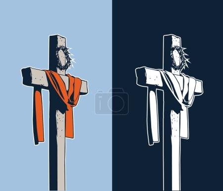 Photo pour Croix avec une couronne d'épines - image libre de droit