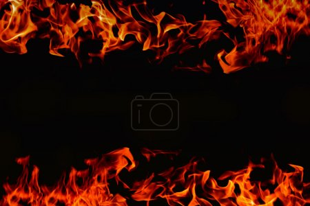 frame of fire on dark background for use to montage