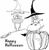 vector hand drawing funny characters and pumpkins for Halloween design