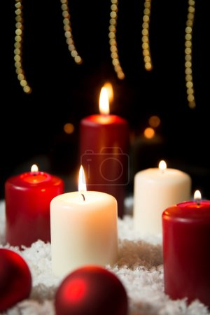 Candles and baubles, background