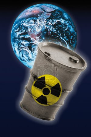 Barrel with signs of radioactivity in front of earth