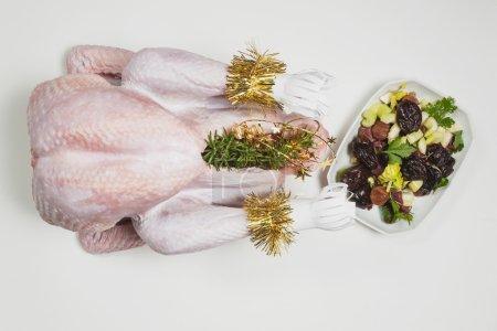 Raw turkey, preparation for christmas dinner