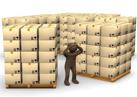 3D Illustration, desperate brown figurine, packages on pallets,