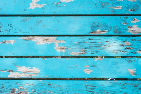 Photo for Old wooden table, blue, varnished, full frame - Royalty Free Image