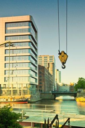 Germany, Hamburg, modern architecture and old warehouses at Binn