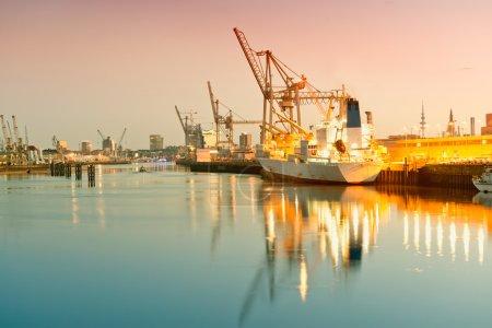 Germany, Hamburg, view on Hansahafen, harbour district, cargo sh