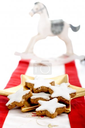 Cinnamon stars, Christmas cookies on plate