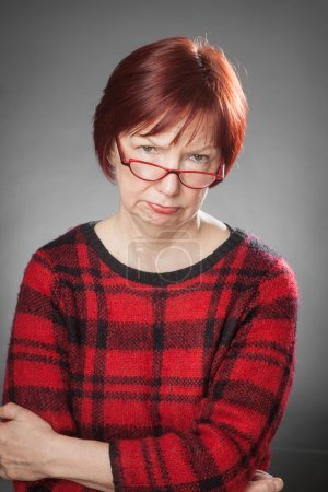 Red-haired woman, Portrait, Facial expression, disappointed