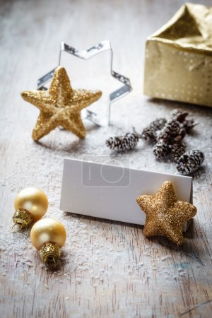 Christmas still life on wood, place card, copy space
