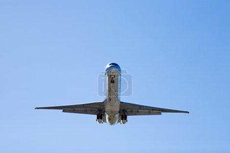 Spain,Andalusia,Malaga,Aeroplane landing,low angle view